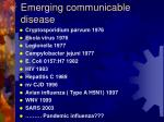 emerging communicable disease