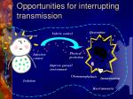 opportunities for interrupting transmission