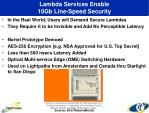 lambda services enable 10gb line speed security
