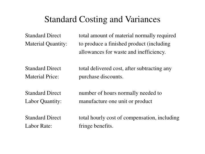 Standard costing and variances1