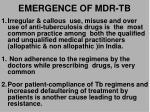 emergence of mdr tb
