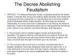 the decree abolishing feudalism