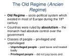 the old regime ancien regime
