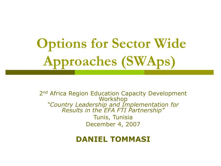 options for sector wide approaches swaps n.