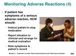 monitoring adverse reactions 4
