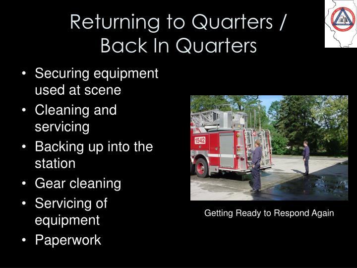 Returning to Quarters /