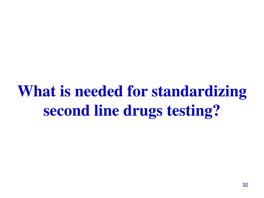 What is needed for standardizing second line drugs testing?