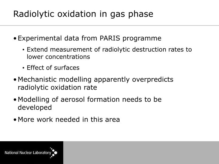 Radiolytic oxidation in gas phase