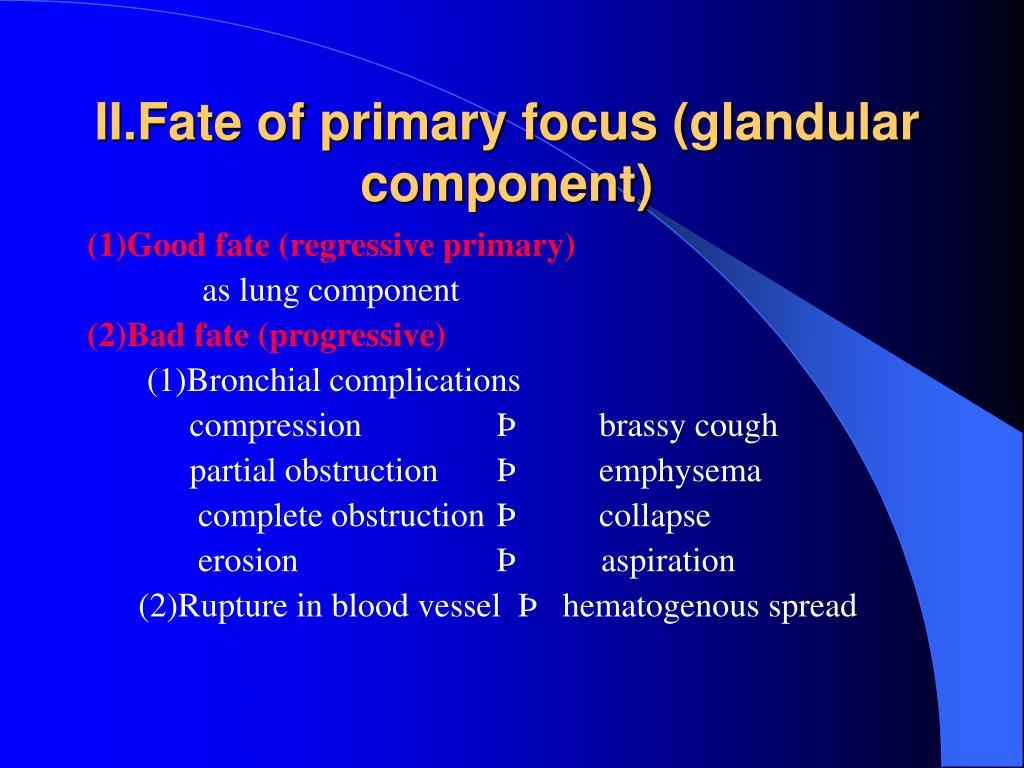 II.Fate of primary focus (glandular component)