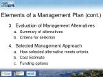 elements of a management plan cont2