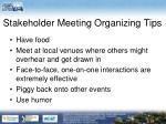 stakeholder meeting organizing tips