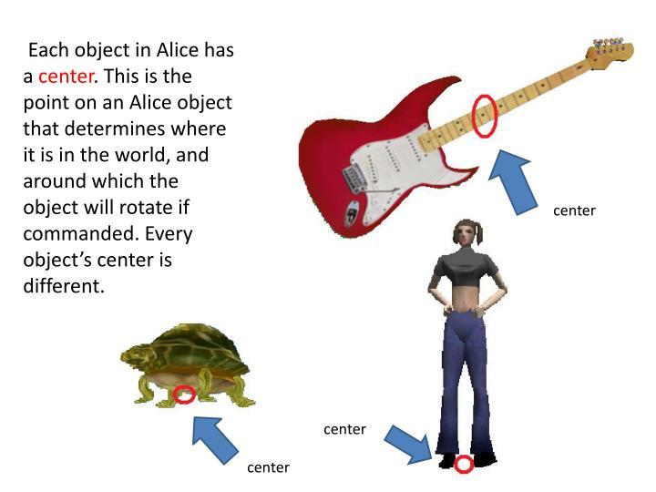 Each object in Alice has a