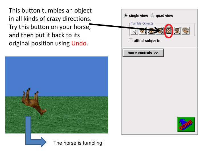 This button tumbles an object in all kinds of crazy directions. Try this button on your horse, and then put it back to its original position using