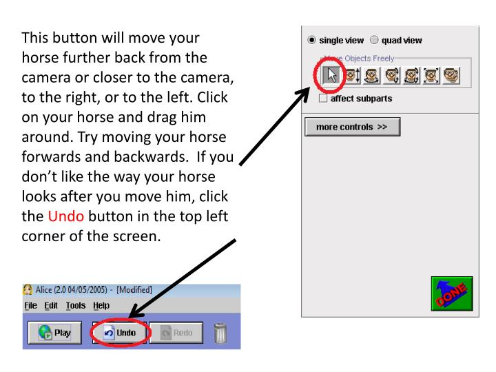 This button will move your horse further back from the camera or closer to the camera, to the right, or to the left. Click on your horse and drag him around. Try moving your horse forwards and backwards.  If you don't like the way your horse looks after you move him, click the