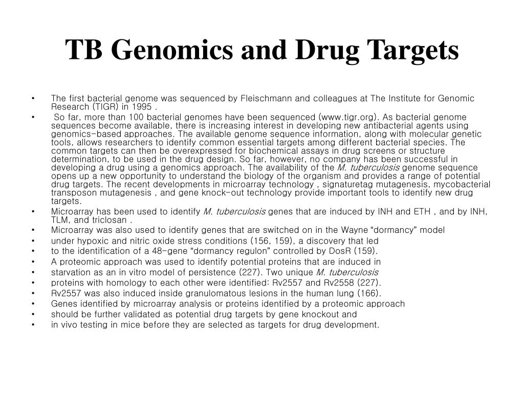 TB Genomics and Drug Targets