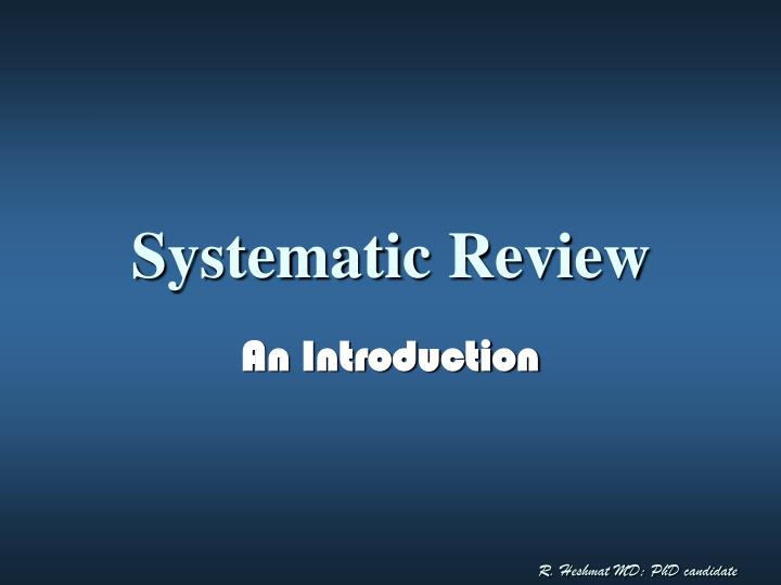 systematic review n.