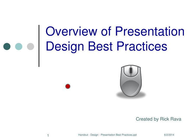 overview of presentation design best practices n.