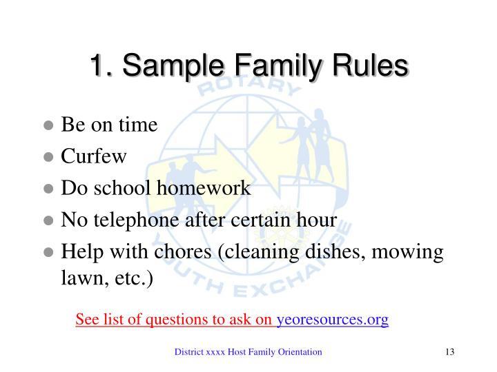 1. Sample Family Rules