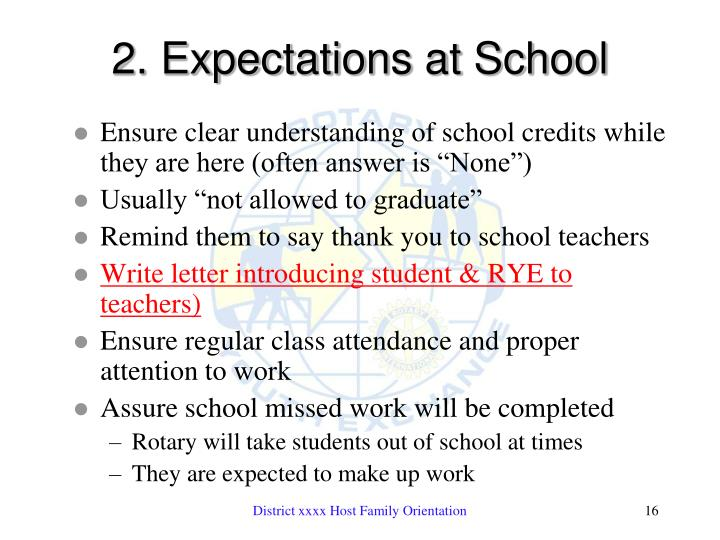2. Expectations at School