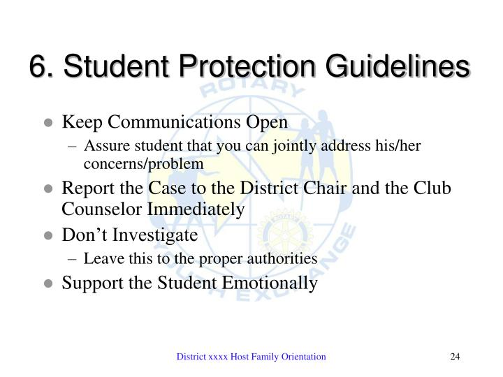 6. Student Protection Guidelines