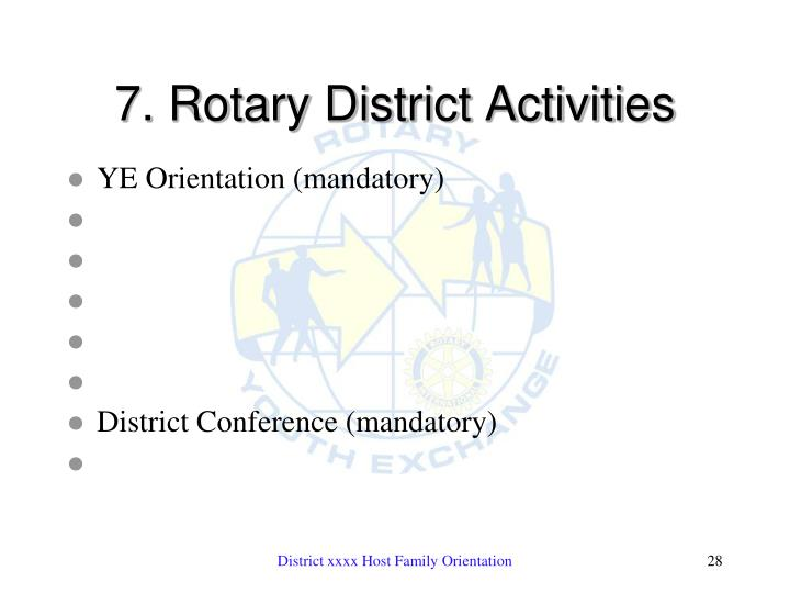 7. Rotary District Activities