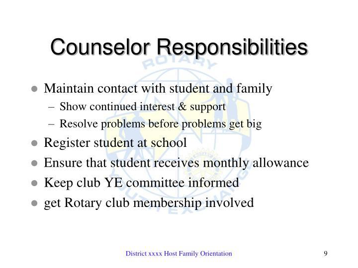 Counselor Responsibilities