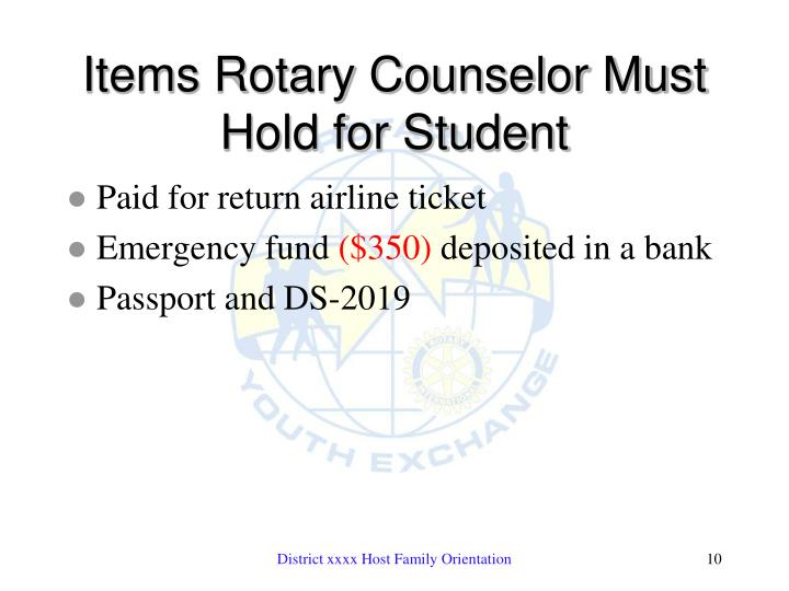 Items Rotary Counselor Must Hold for Student