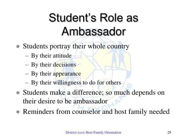 Student's Role as Ambassador