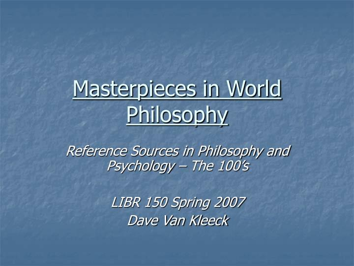 masterpieces in world philosophy n.