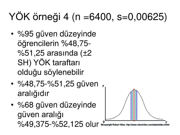 YÖK örneği 4 (n =6400, s=0,00625)