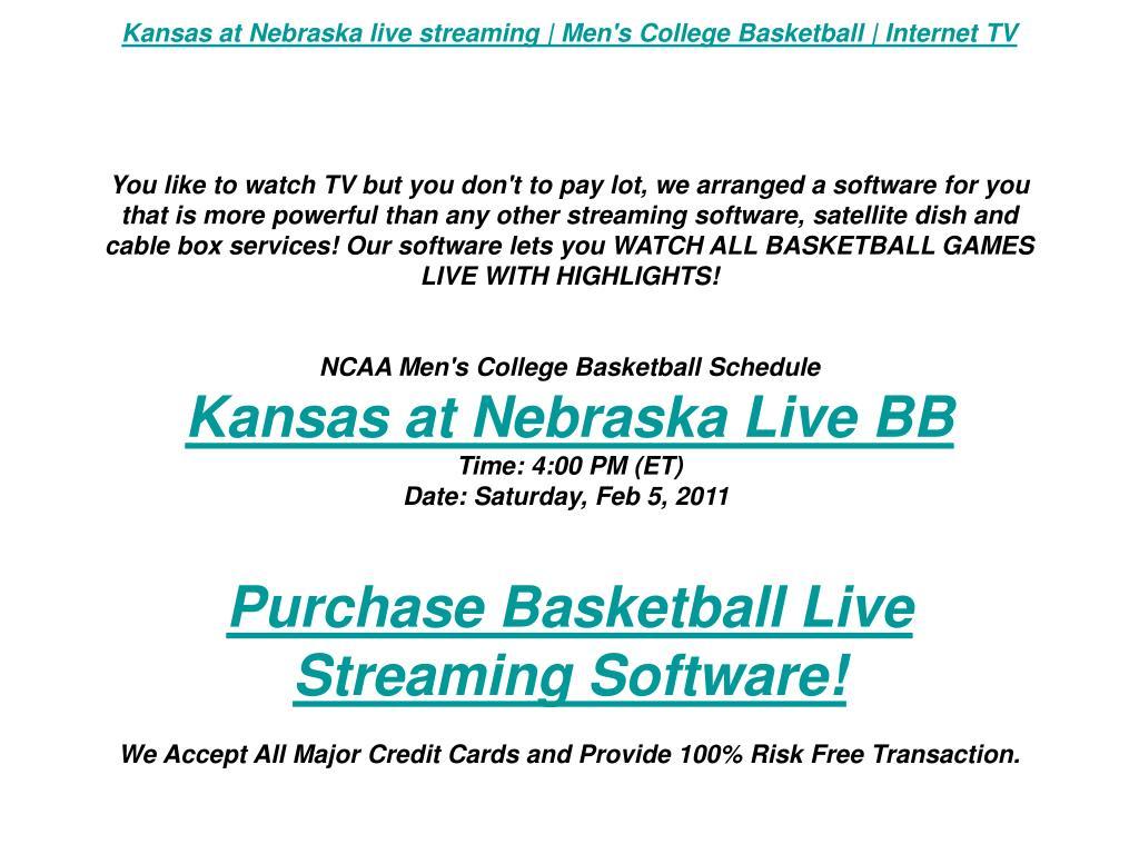 Kansas at Nebraska live streaming | Men's College Basketball | Internet TV