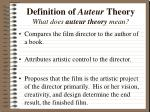 definition of auteur theory what does auteur theory mean