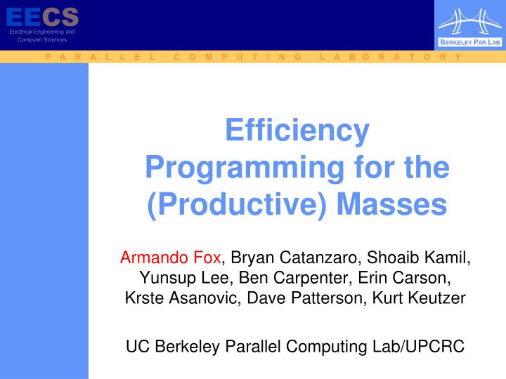efficiency programming for the productive masses n.