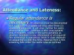 attendance and lateness