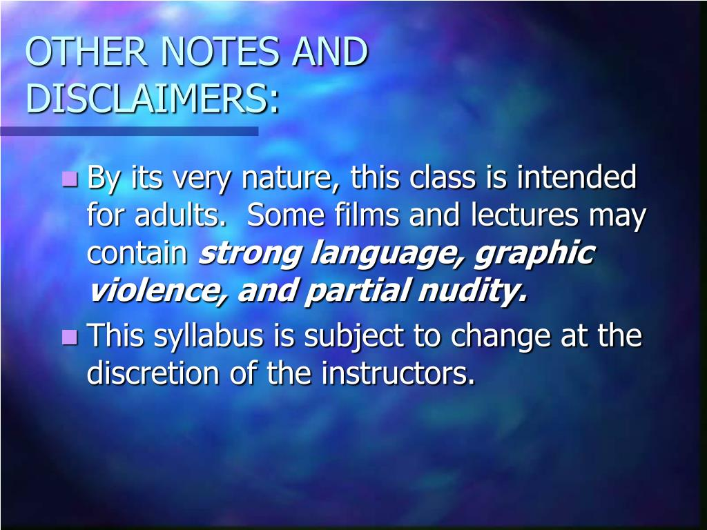 OTHER NOTES AND DISCLAIMERS: