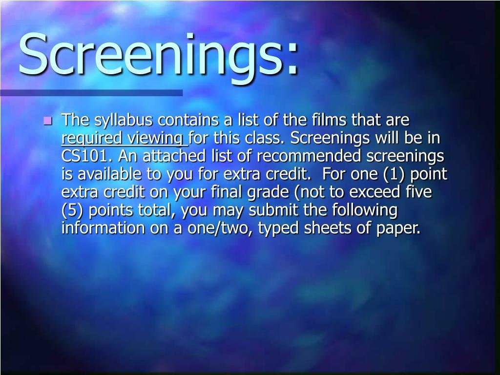 Screenings: