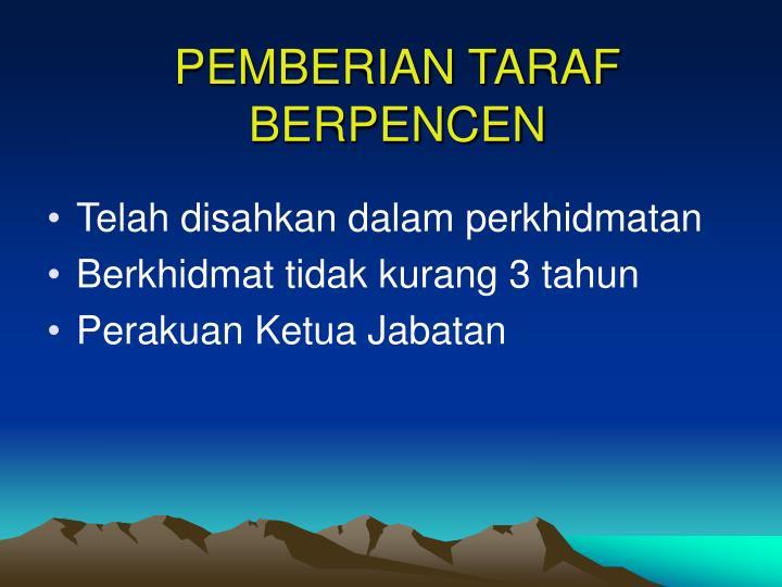 PEMBERIAN TARAF BERPENCEN