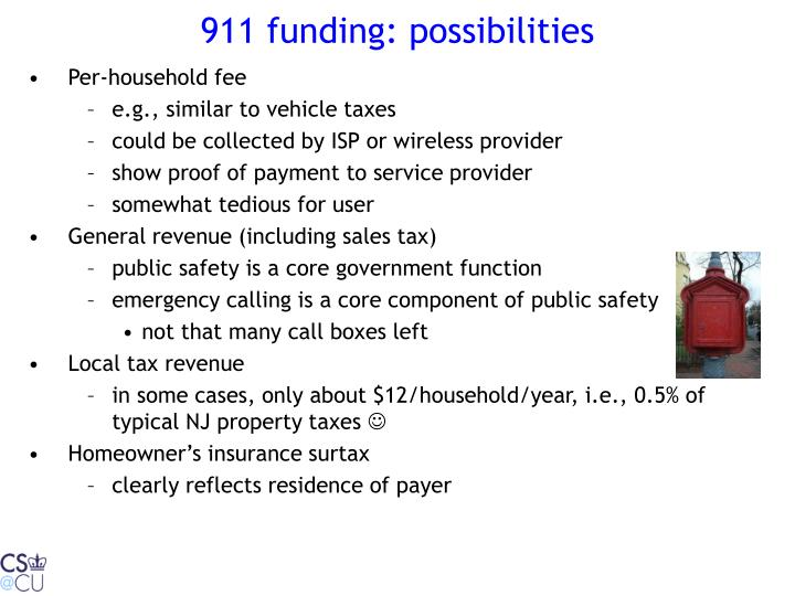 911 funding: possibilities