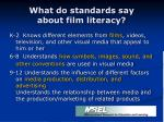 what do standards say about film literacy8