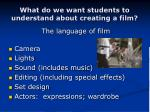 what do we want students to understand about creating a film