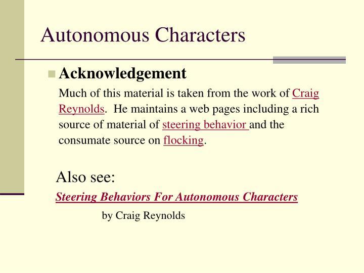 Autonomous characters3