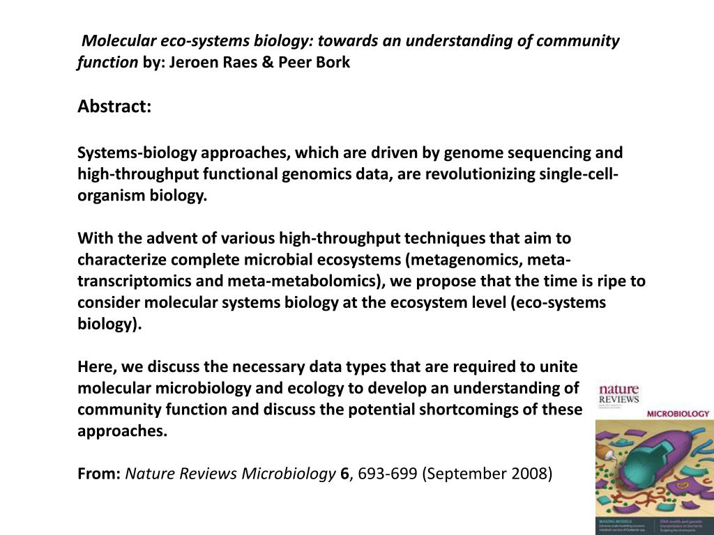 Molecular eco-systems biology: towards an understanding of community function