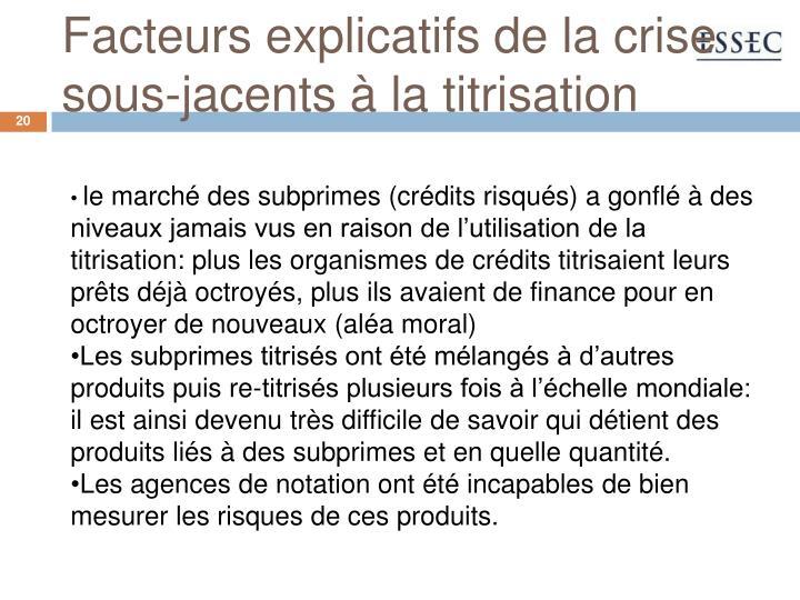 Facteurs explicatifs de la crise