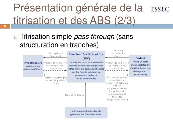 Présentation générale de la titrisation et des ABS (2/3)