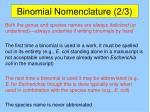 binomial nomenclature 2 3