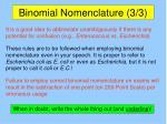 binomial nomenclature 3 3