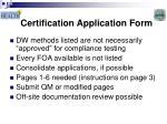 certification application form