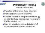 proficiency testing success measures