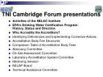 tni cambridge forum presentations