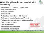 what disciplines do you need at a ph laboratory